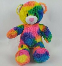 "Build a Bear 17"" Plush Teddy Tie Dye Rainbow Hippie Boho Stuffed Animal BAB - $22.98"