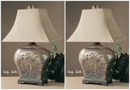 "PAIR 27"" HAND APPLIED SILVER BROWN ANTIQUED TABLE LAMPS SUEDE FABRIC SHADES - $369.60"