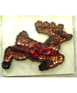 Vintage Reindeer Sequin Applique Sew-On Sequine... - $5.99