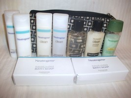 Neutrogena 9 Travel Size Soap Shampoo Conditioner Body Lotion + Estee Lauder Bag - $19.99