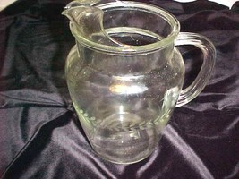 Vintage Pitcher Clear Glass Etched Laurel Wreath Pattern - $35.34
