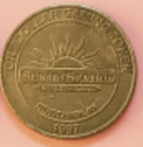 Sunset Station Hotel 1997 Henderson, NV Railroad Train One Dollar Gaming Token - $3.95