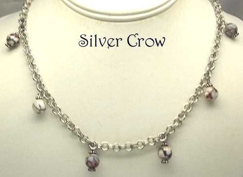 Brown & White Crab Fire Agate Gemstone Bright Silver Necklace & Earring Set