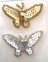 Vintage Gold and Silver Butterfly Sequin Applique Sew-On Patch Set  NIP  - $8.99