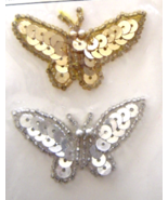 Vintage Gold and Silver Butterfly Sequin Appliq... - $5.99