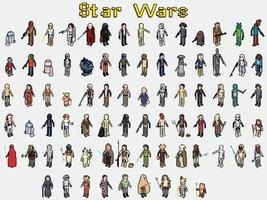 Star Wars Characters 8-Bit Pixelated Art 24x18 ... - $9.95