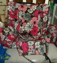 Vera bradley Large & small duffel bags, accordian wallet, Mocha Rouge - £106.76 GBP