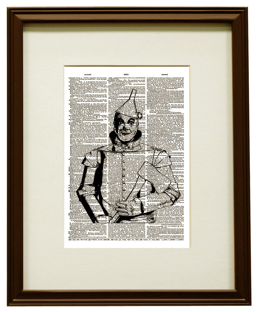 The Tin Man from the WIZARD of OZ Upcycled Vintage Dictionary Art Print No. 0034