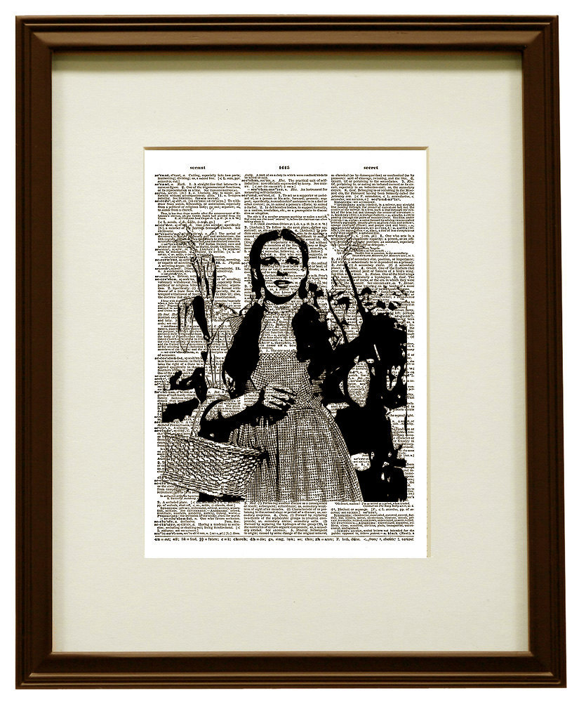 Dorothy from the WIZARD of OZ Upcycled Vintage Dictionary Art Print No. 0028