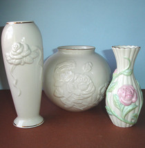 Lenox Rose Ivory Vase 3 Piece Set Sculpted Gold Trim - Each A Different ... - $49.90