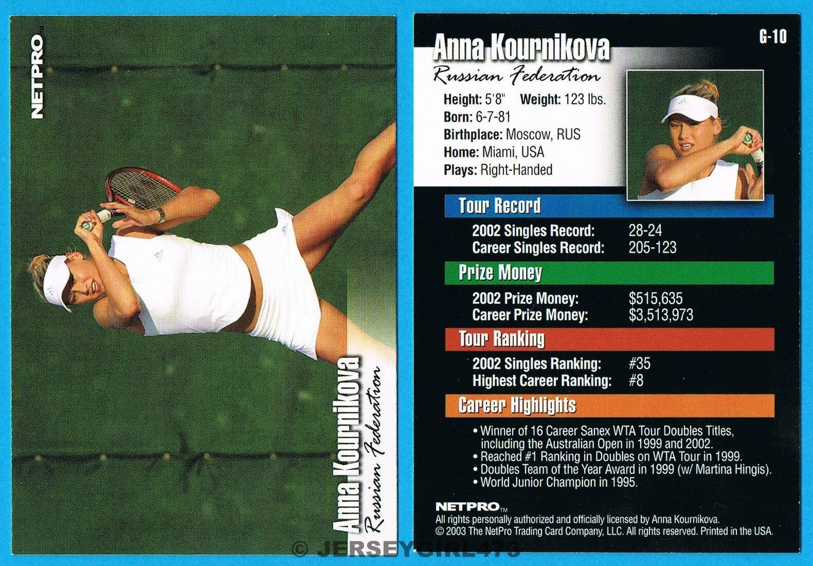 Anna Kournikova 2003 NetPro Glossy Version Tennis Rookie Card #G-10