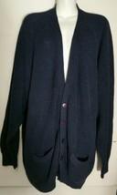 Vintage GAP Cardigan Sweater L Large Ribbed Navy Blue Cotton Blend Hong ... - $19.78