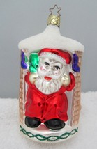 1996 Germany Christmas Ornament Santa Coming Down Chimney Purple Stockings - $19.80