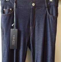 Yelete 5 pocket Standard Regular Fit Women Jeans Leggings Pants  Sz LG NWT  Navy - $14.84