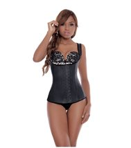 Ann Michell Full Vest Latex Waist Cincher 30 Black - $61.78