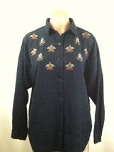 Black Blouse Sz Large Long Sleeve Button Down Shirt Top Holiday Maggie &... - $12.86