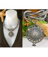 Steampunk Knot Choker Necklace Medallion Chunky Silver Metal - $54.95
