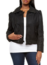 Juniors Black Puff Sleeve Military Bomber Jacket 2XL - $46.00