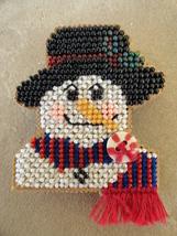 Handmade Cross Stitch Beaded Snowman Brooch Needlework Art Pin Cute - $12.99