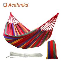 Acehmks Canvas Hammock Portable Stripe Hang Bed For Outdoor Home Travel ... - $110.99