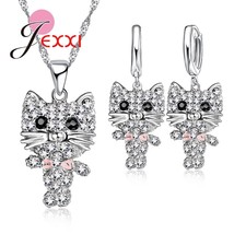 Cartoon Kitten Design Jewelry Sets Trendy Party Accessory 925 Sterling S... - $12.76