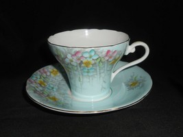 Aynsley Corset Teacup and Saucer Primrose Lattice Fine Vintage China - $38.00