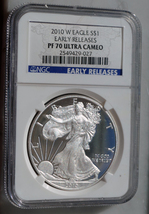 2010 W PROOF SILVER EAGLE HIGHEST NGC PF70 GRADE ULTRA CAMEO EARLY RELEASE