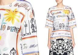 """New Dolce & Gabbana  """"Love You Mamma"""" Silk Blouse Top Size 38 2 - $559.99"""
