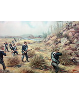 US ARMY in 1880 Attacking Snake River Indians Owyhee River - COLOR Litho... - $25.20