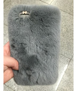 Soft Real Rabbit Fur Cover Case for Various Mobile Phones-Gray Furry Cus... - $25.00