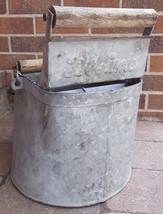 Antique DeLuxe WashBucket-Wooden Rollers-Galvan... - $37.39