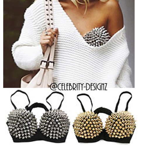 br1 CFLB Punk Metallic Events Clothing Padded Studded Bra Spike Crop Top for sale  USA