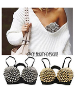 br1 CFLB Punk Metallic Events Clothing Padded Studded Bra Spike Crop Top - $29.99