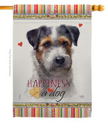 Black Jack Russell Happiness - Impressions Decorative House Flag H110157-BO - $40.97