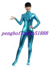 Lake Blue Shiny Metallic Sexy Body Suit Catsuit Costumes Halloween Suit S047 - $32.97+