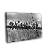 Lunch atop a Skyscraper Workers Retro Old BW 16x12 Framed Canvas Print - $25.46