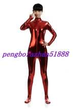 Halloween Suit Red Shiny Lycra Metallic Sexy Body Suit Catsuit Costumes S050 - $32.99