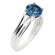 Swiss blue topaz gemstone 925 sterling silver ring for women - $14.84