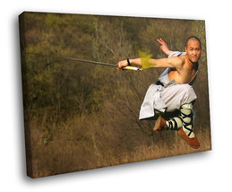 Monk Shaolin Sword Martial Arts 40x30 Framed Canvas Art Print - $29.95