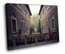 Stone house Forest Bridge Old town Windows 40x30 Framed Canvas Art Print - $29.95