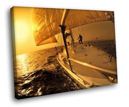 Yacht Crowd Sail Sunset Seascape 30x20 Framed C... - $19.95