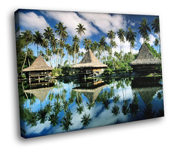 French Polynesia Seaside resort 30x20 Framed Canvas Art Print - $19.95