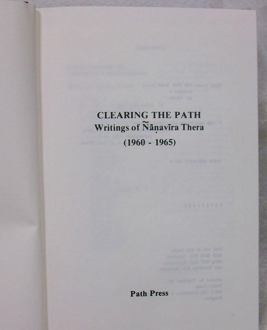 Clearing the Path, Thera Nanavira