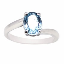 New Looking Ring with Blue Topaz Solid Gemstone 925 Sterling Ring Sz P S... - $13.97