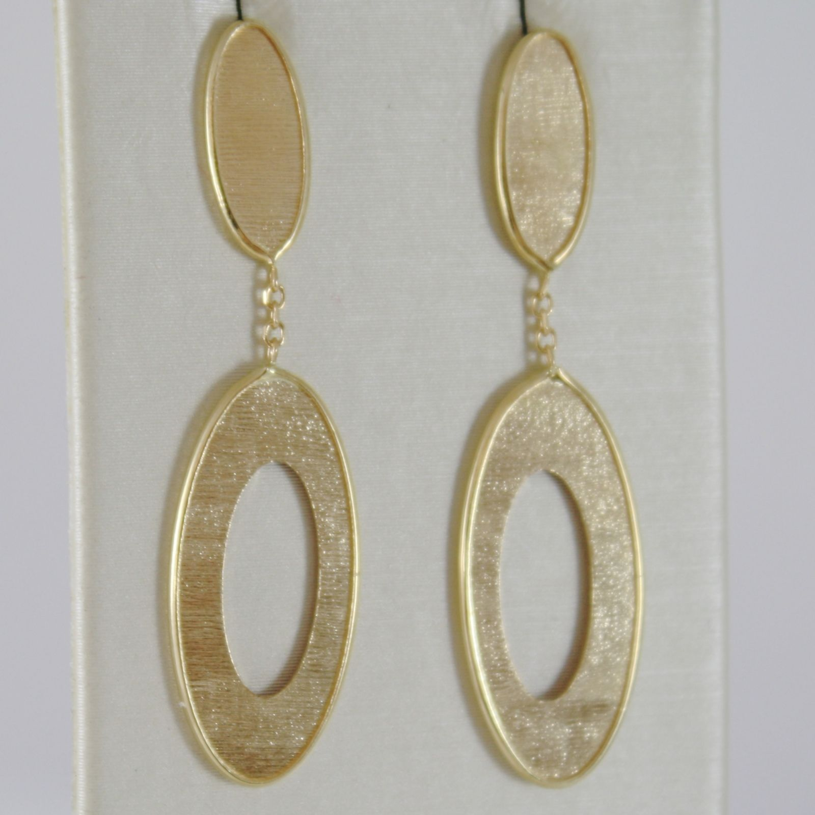 18K YELLOW GOLD PENDANT OVAL EARRINGS FINELY WORKED STRIPES DOUBLE MADE IN ITALY