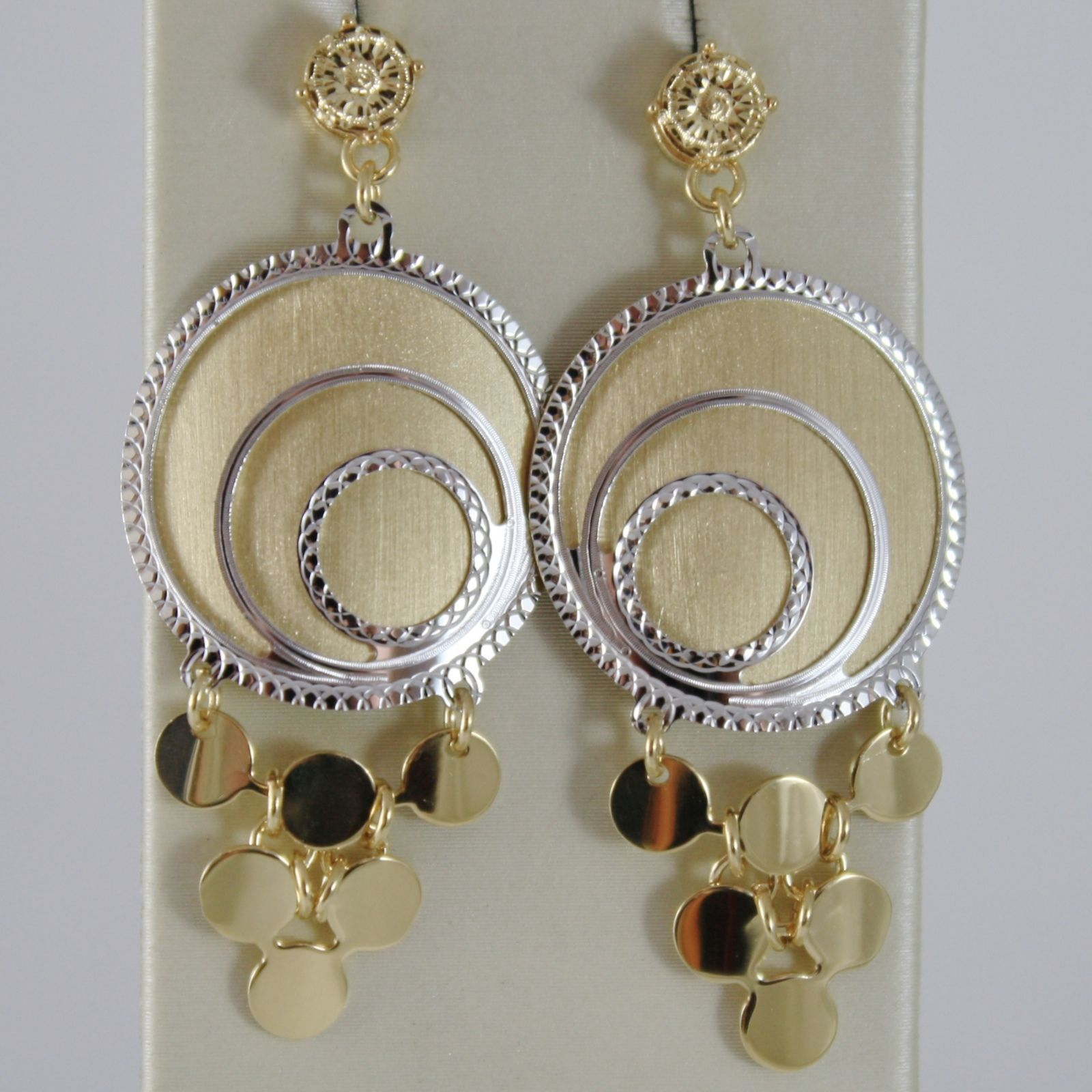 18K YELLOW WHITE GOLD PENDANT DISC EARRINGS FINELY WORKED BUNCH MADE IN ITALY