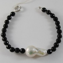 18K WHITE GOLD BRACELET BIG DROP BAROQUE PEARL 25 MM & BLACK ONYX MADE IN ITALY
