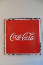 huge porcelain coca cola square advertising soda pop store display sign - $190.00