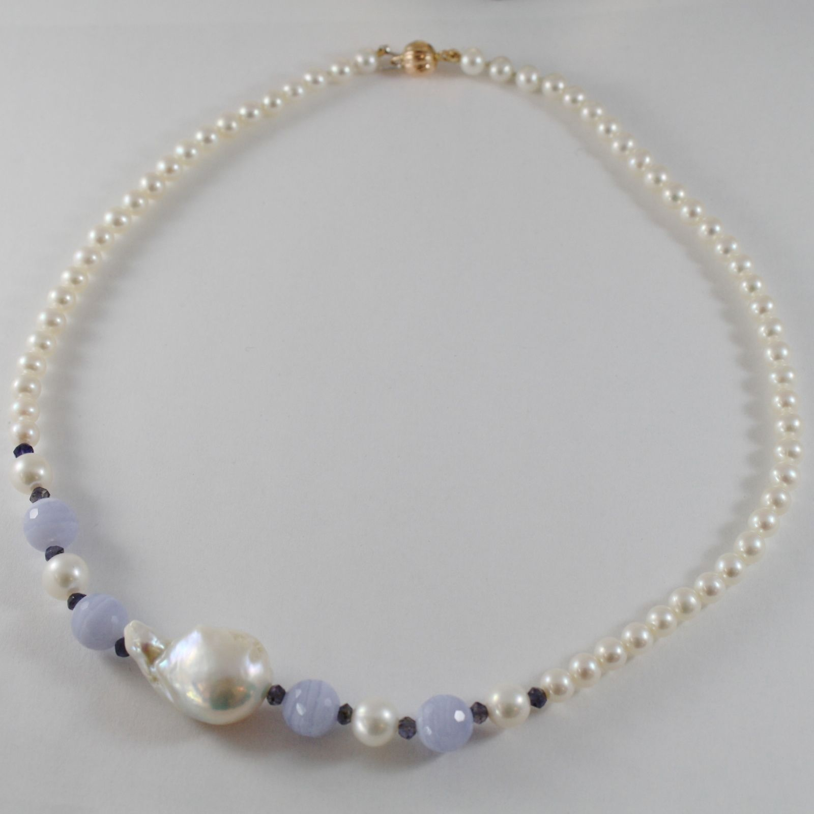 18K ROSE GOLD NECKLACE BIG DROP BAROQUE PEARL 28 MM & CHALCEDONY, MADE IN ITALY