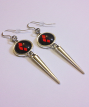 Harley Quinn Earrings - Batman Spiked Metal and Glass Silver Clasp Earrings - $30.00